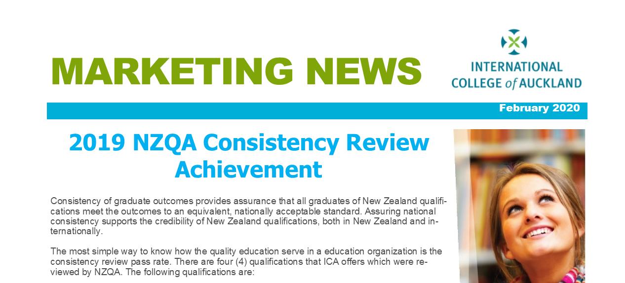 NZQA Consistency Review Achievement 2019